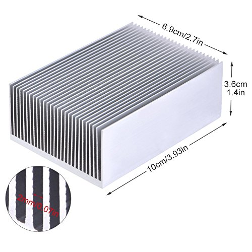 1 Satz Aluminium Kühlkörper Kühlung Fin Kühler Für Led-verstärker Transistor IC Modul Oder Computer, 100 (L) x 69 (B) x 36mm (H) -