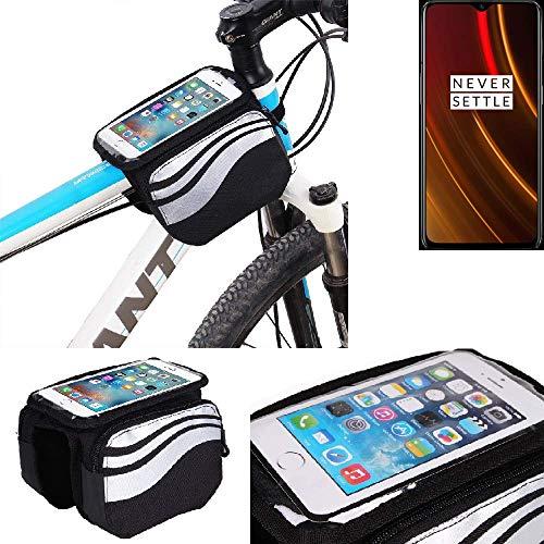 K-S-Trade Rahmentasche für OnePlus 6T McLaren Edition Rahmenhalterung Fahrradhalterung Fahrrad Handyhalterung Fahrradtasche Handy Smartphone Halterung Bike Mount Wasserabweisend, Silber-schwarz
