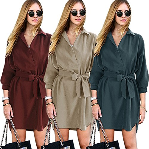 VENAS Womens Casual V Neck High-Low Hem 3/4 Batwing Sleeve Button Down Boyfriend Elegant Shirt Dress With Belt (M, Blue)