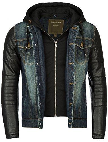 Gefütterte Herren Winterjacke der Marke Young & Rich Jeansjacke Vintage mit Innensweat und Kunstlederarmen, Größe:L