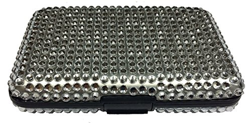 Home and Holiday Shops Bling Silver Jeweled RFID Secure Credit Card Theft Protection Armored Wallet New Jeweled Bling Case