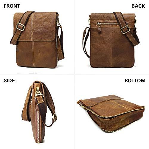 BAIGIO Bolso Bandolera Hombre de Cuero Bolso de Hombro Piel Peque/ño Vintage Crossbody Bag Casual