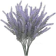 Artificielle floqué Bouquet de lavande en fleurs violettes arrangements de mariage Maison DIY Sol Jardin Bureau Décor de mariage/4Bundle - violet
