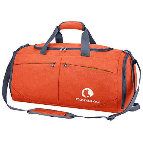 CANWAY Faltbare Sporttasche Faltbare Reisetasche mit dem schmutzigen Fach und Schuhfach Leichtgewicht für Männer und Frauen (Orange)