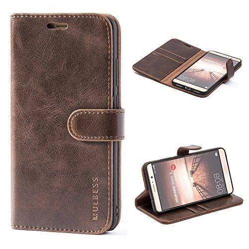 Mulbess Ledertasche im Ständer Book Case / Kartenfach für Huawei Mate 9 (5,9 Zoll) Tasche Hülle Leder Etui,Vintage Braun