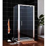 Duschkabine/Duschabtrennung aus Einscheiben-Sicherheitsglas eckdusche Drehpunkt Schwingtür + Seitenwand 70x70