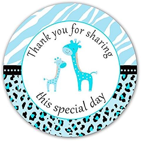 40adesivi Zebra Leopardo Blu Giraffa Bambino doccia partito regalo etichetta Favor