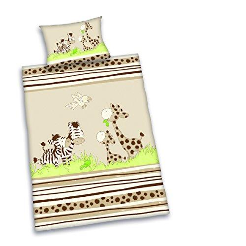 Herding Baby Best Kleinkinder-Bettwäsche-Set, Jana Zebra Wendemotiv, Bettbezug 100 x 135 cm, Kopfkissenbezug 40 x 60 cm, Baumwolle/Renforcé -