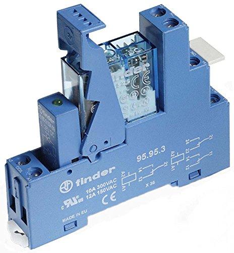 Finder 49.52.7.012.0050 Koppelrelais mit Blauer Fassung 12 V DC, 2 W, 8 A Dc-relais