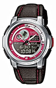 Casio - AQF-102WL-4B - Sports - Montre Mixte - Quartz Analogique - Digital - Cadran Rouge - Bracelet Cuir Noir