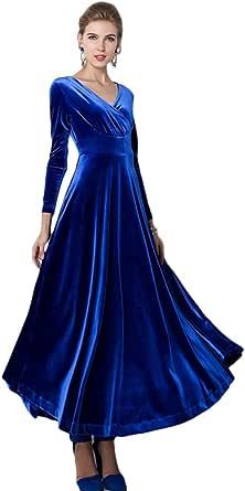 Urban GoCo Donna Vestiti Vintage Scollo a V Lunga Manica Vestito Velluto Abito di Sera Prom Abiti