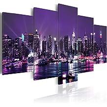 murando Cuadro en Lienzo 200x100 cm - 3 tres colores a elegir - 5 Partes - Formato Grande - Impresion en calidad fotografica - Cuadro en lienzo tejido-no tejido - City ciudad New York NYC Nacht d-A-0022-b-o 200x100 cm