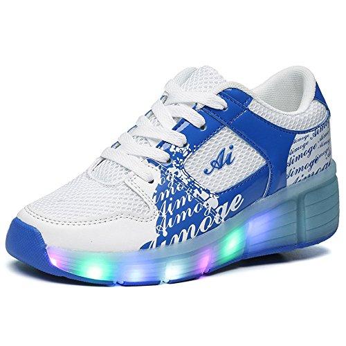 FZUU Kinder Mode LED Beleuchtung Roller Schuhe Kinder Outdoor Casual Sport Schuhe Junge / Mädchen Sneakers Roller Skates mit Rädern Blau