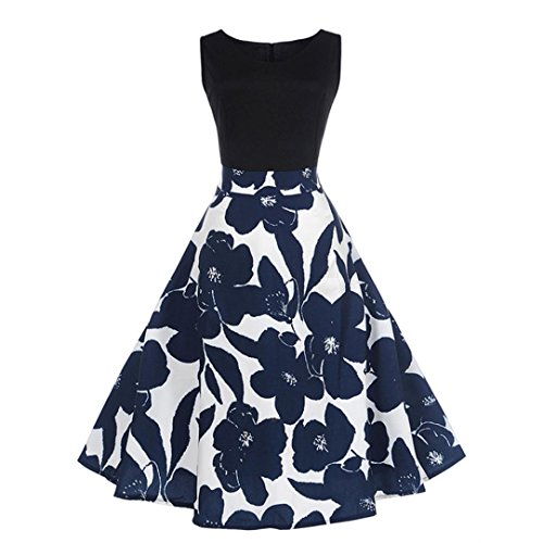 Floral Elegant Sleeveless Vintage Tee Hepburn Kleid Ballkleid(Schwarz,EU-40/CN-M) (Schwarzen Barbie Puppe Kostüm)
