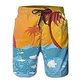 Cuccetta Nera a Strisce dell'albero di Cocco. Uomo Costume da Bagno Quick Dry Pantaloncini da Spiaggia Stampato Swim Trunks,Taglia L