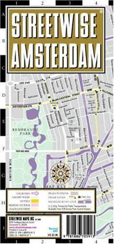 Streetwise Amsterdam Map - Laminated City Street Map of Amsterdam, Netherlands: Folding Pocket Size Travel Map with Integrated Tram Lines & Train Stat (Streetwise (Streetwise Maps)) -
