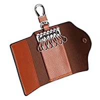 Contacts Mens Genuine Leather Cowhide Car Key Case Card ID Holder Wallet Brown