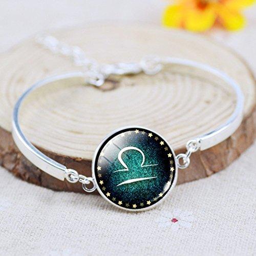Jiayiqi Astrologie Antique 12 Constellations Verre Temps Gem Pendentif Bracelet Gourmette Des Femmes Libra