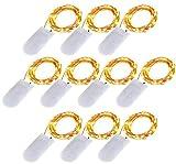 lxings batteriebetrieben Lichterkette 10Sets von 6,6ft (2m)/20LEDs, Micro Lichterkette kupfer Draht für Weihnachten Deko Hochzeit Party Mittelpunkt, Lichterkette Effekt (10pc-warm weiß)