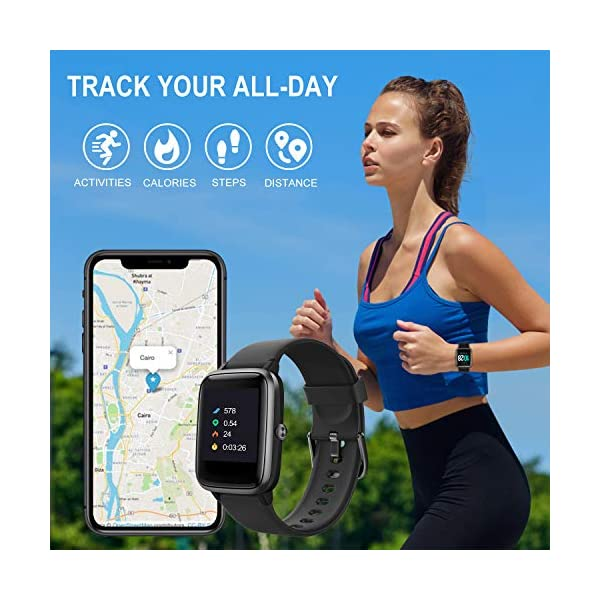 TOOBUR Smartwatch, IP68 Impermeable Reloj Inteligente con Pulsómetro, 1.3 Pulgada Pulsera Actividad Inteligente con… 2