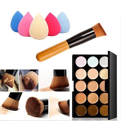 Cdet Ensemble de maquillage Pinceau de maquillage pour maquillage 15 couleurs + Éponge pour eau Puff Couleur aléatoire + Brosse de maquillage