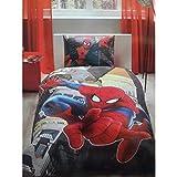 Spiderman in City Einzelbett Kinderbettwäsche Bettdeckenbezug(160x220cm), Bettwäsche 100% Baumwolle mit Bettbezug, Spannbettlacke(100x200cm) und Kissenbezug(50x70cm) Für Jungs Made in der Türkei