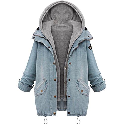 Damen Bekleidung Vovotrade ❀❀Frauen warme Winter Kragen mit Kapuze Mantel Jacke Denim Graben Parka Outwear Jeans Twinset (Size:M, Blau) (Standard-schnitt Jean)