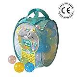 LUDI - Sac de 75 balles multicolores souples en plastique anti-écrasement. A partir de 6 mois. Balles à lancer, faire rouler et pour piscine à balles. Diamètre : 6 cm - réf. 30016