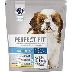 Perfect Fit Junior - Croquettes pour jeune petit chien et chiot (<10kg), riche en poulet, 4 sacs de 1,4kg