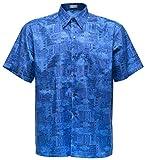 Herrenhemd Kurzarm Grafik gemustert (Mischen Sie Blau, XL)
