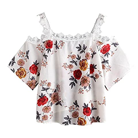 Women Off Shoulder Lace Floral Blouse Tops T-Shirt,YUAN Short Sleeve High Waist Lace Shorts For Girls (White, M)