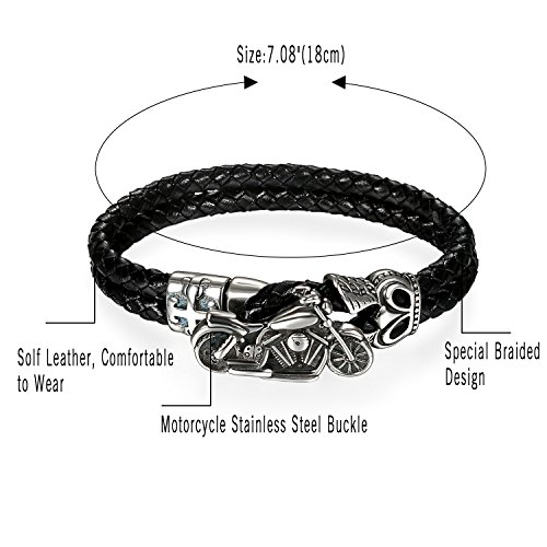 Herren Damen Lederarmband Schwarz breit , OIDEA Geflochten Leder Seil Biker Armreif mit Motorrad Schließe - 3