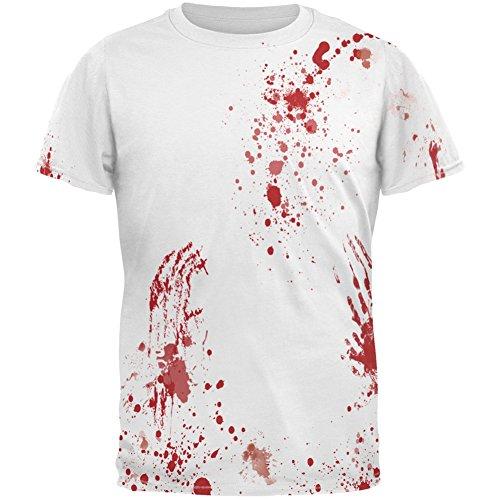Blut-Splatter aller Erwachsenen Kostüm T-Shirt White