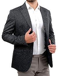 Blazer Giacca Uomo Elegante in Lana Slim Fit Grigio Invernale Sartoriale  Classica 2 Bottone Tessuto Follatino 100% Made… ef693482ab9