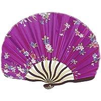sourcingmap® Cinese, Giapponese Tessuto Floreale Bambù Pieghevole Danza Ventilatore Della Mano (Fucsia Bambù)