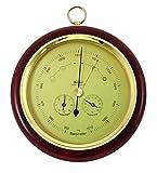 Fischer Wetterstation, Barometer, Thermo-Hygrometer, Durchmesser 200mm, Ausführung:Echtholzsockel mahagoni