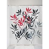 InterDesign Leaves Duschvorhang   Designer Duschvorhang in der Größe 183,0 cm x 183,0 cm   schickes Duschvorhang Motiv mit Blättern   Polyester schwarz/rot