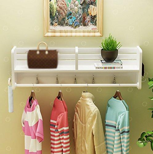 Porte-manteau mur blanc multi-fonctionnel, penderie murale étagères en bois massif étagères, une variété de tailles à choisir (taille : 60 * 16.5 * 25cm)