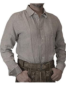 Almsach Slim Fit Leinen Stripes Trachtenhemd Leon