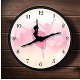 Wangcheng1 Reloj de Pared Bailarina Rosa Reloj de Pared con Agujas de Baile Baile de Ballet Reloj de Metal Dancing Studio Room Decoración de Pared Regalo para Bailarines