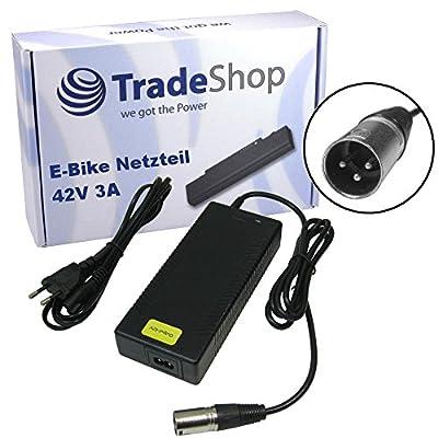 Trade-Shop eBike Netzteil 42V 3A Ladegerät Ladekabel für 36V Akkus mit 18,5mm x 15,5mm 3pin XLR Anschluss Stecker für 36V Akkus ersetzt HP1202L3 für Prophete Alu Trecking, Phylion, Aldi, Lidl, MiFa, Cyco, Curtis und McKenzie e-Bikes