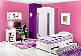 Jugendzimmer Komplett - Set X Gabriel, 5-teilig, Farbe: Weiß/Lila