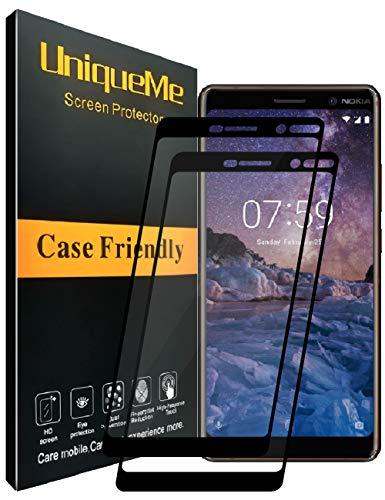 UniqueMe [2 Pezzi Nokia 7 Plus Pellicola Protettiva, [Copertura Completa] Proteggi Schermo in Vetro temperato con Sostituzione a Vita - Nero