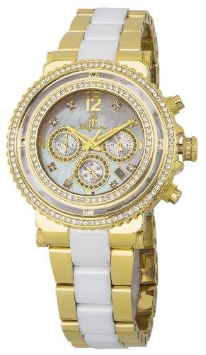 Burgmeister BM215-219 - Reloj cronógrafo de cuarzo para mujer con correa de acero inoxidable bañado, color dorado