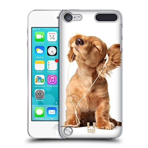 Head Case Designs Kleiner Welpe Hört Musik Komische Tiere Snap-on Schutzhülle Back Case für Apple iPod Touch 5G 5th Gen (Touch 5 Musik Case Ipod)
