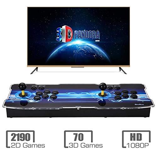 【Arcade Machine 2260 Juegos clásicos】 3D Pandoras Box Videoconsola Arcade 1080P Nuevo Sistema de Juego con 2 Jugadores Pandora's Box