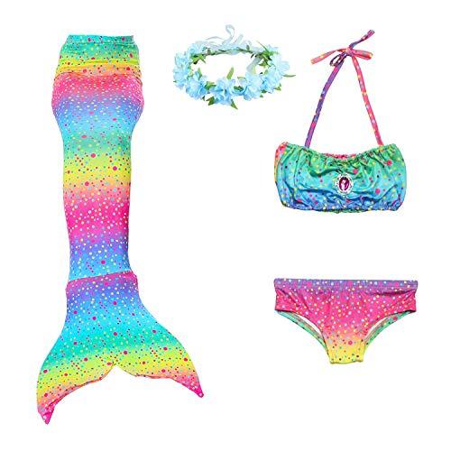 Paisdola Cola Sirena Niñas Nadar Bikini 3 Piezas