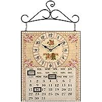 H&H Calendario Rose Orologio da Parete, Metallo,