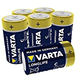 Varta Longlife Batterie C Baby Alkaline Batterien LR14 - 6er Pack (Design kann abweichen)