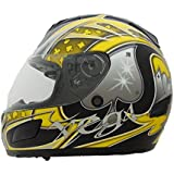 Vega Helmets Insight Full Face Helmet with Aces Graphics and Quick Release Chin Strap (Yellow, X-Large) by Vega Helmets